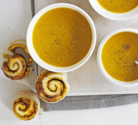 Spicy lentil soup with curry pinwheel rolls. I made just the soup with green instead of red lentils.  It was very tasty, but a bit thicker than anticipated, so I would add a bit more broth, if it boils down too much.