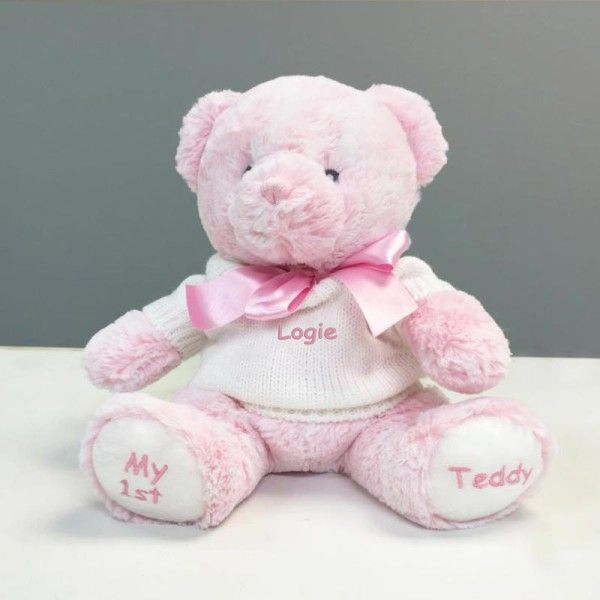 Personalized baby gift my 1st teddy bear pink 12 inch personalized baby gift my 1st teddy bear pink 12 inch dibsies personalization station gifts and more pinterest personalized baby gifts negle Gallery
