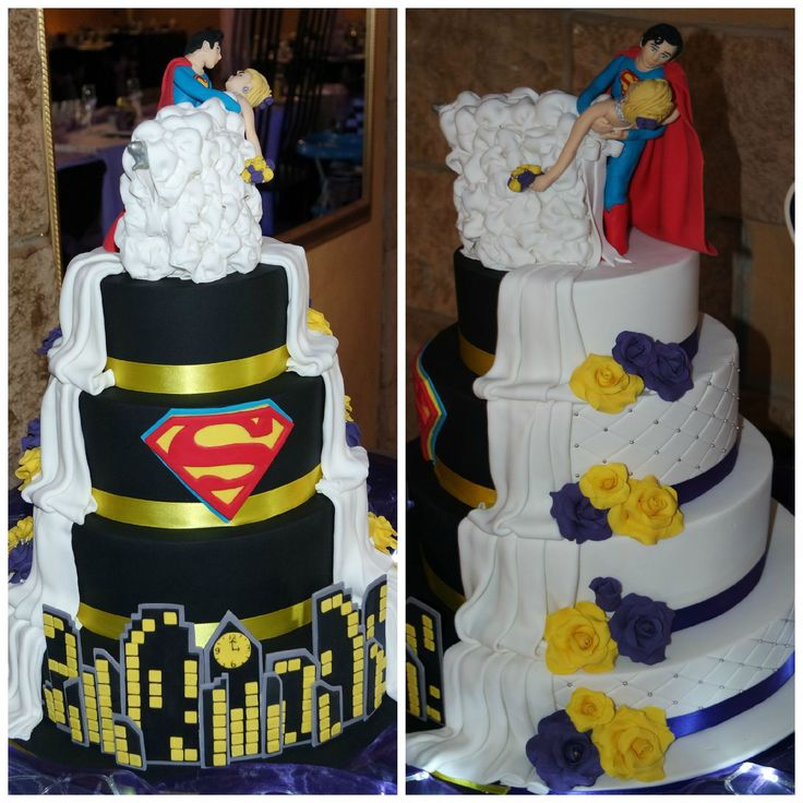 Superman Wedding Cake.  Made by Maggie Gagiano Cakes.