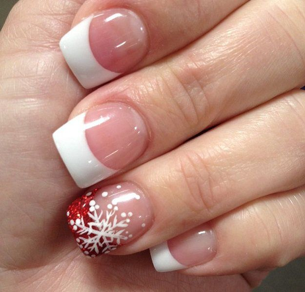 French Tips And Snowflakes | 11 Holiday Nail Art Designs That Are Too Pretty To Pass Up