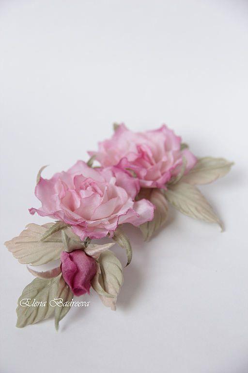 """Купить Розы """"Прованс"""" - розовый, розы, роза, интерьерное украшение, украшение для штор, брошь цветок"""