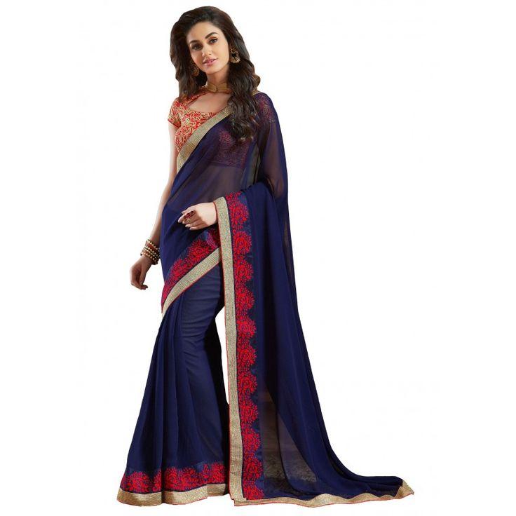 Designer Pure Georgette Embroidered Unstitched Royal Blue Saree - RKVR1809 ( FH-RKVR1800 )