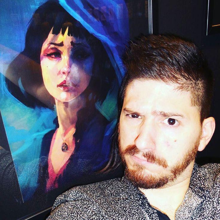 "Also (ω) me and my artwork ""Why so Blue"" at the art exhibition @εναιθρια8 at @hellenic_american_union of Athens Greece #artist #artexhibit #portrait # εναιθρια8"