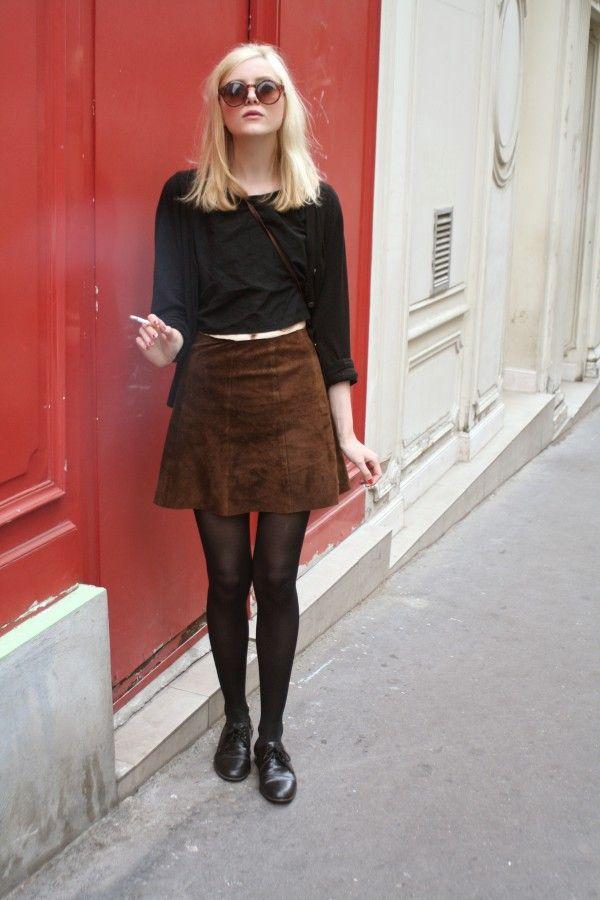 fs black cardigan + black tee + brown suede skirt + black tights
