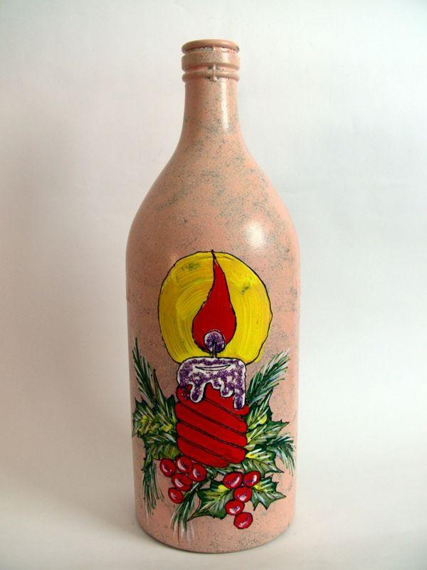 spray kerzen glühen Flaschendeko zu Weihnachten