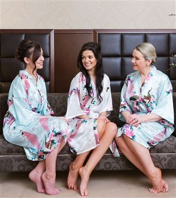 Set of 3 Personalised Floral Bridal Robes - Vintage White for Bride and Powder Blue for Bridesmaids. Available online from WowWee.ie