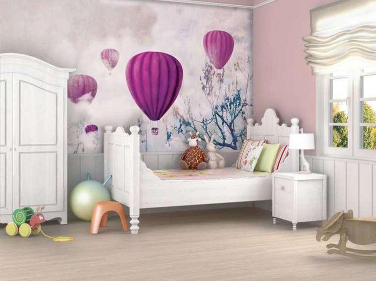 Carta da parati romantica - Carta da parati a motivi adesiva in tessuto in stile classico per bambini Ballon e Clouds di MyCollection.