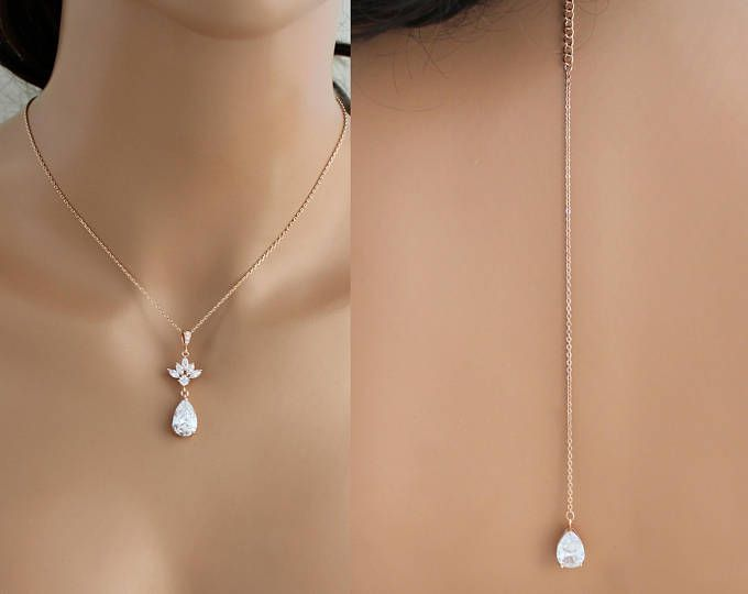 Rose gold zurück Halskette, Braut Hintergrund Halskette, Brautschmuck, Brautjungfer Halskette, Rückseite Drop Halskette, hochzeitshalskette, CZ-Halskette