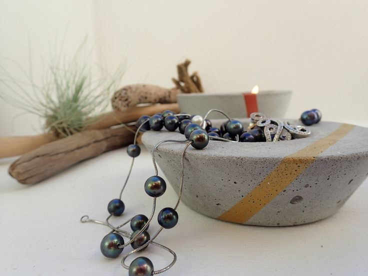 Products - JINKS CREATIONS... Low set concrete planter/trinket holder featuring amazing pearls and diamonds #girlsbestfriend #concrete #airplant #home #coastal