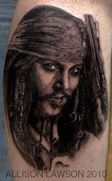 Captain Jack Sparrow Tattoo by Allison Lawson.http://allisonlawson.tumblr.com