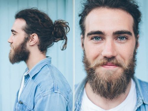 This guy with dreamy eyes and a dreamy man bun | 20 Man Buns That Will Ruin You For Short-Haired Guys