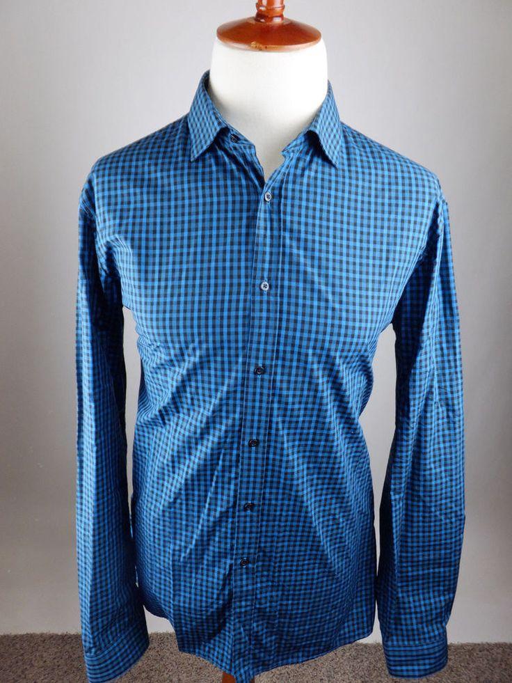 Hugo Boss EndersonX Modern Gingham Check Long Sleeve Button Shirt Men 17 36  37