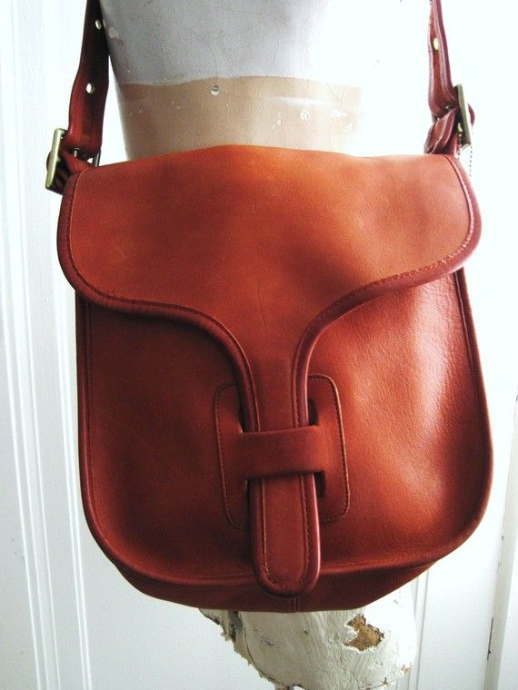 Vintage 70s Orange Leather Coach Satchel Bag Purse Bonnie Cashin Era