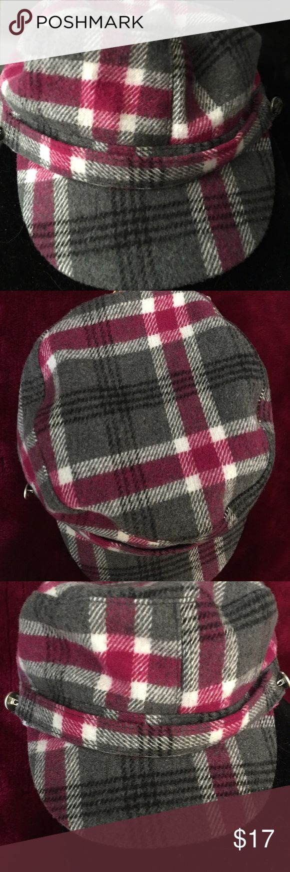 Fleece Plaid Cadet Cap All Fleece Burgundy, gray & white plaid cadet cap. 100% polyester. One size. Scala Pronto Accessories Hats