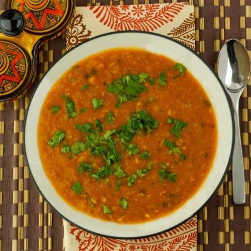 Moroccan Lentil Soup. yumm, had some the other day from a local mediteranian hole in the wall. it was sooo good!