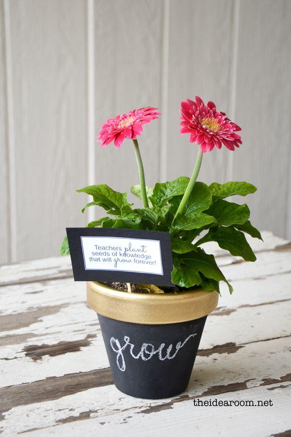 DIY chalkboard potted plant for teacher appreciation