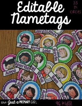 ~*Editable Nametags: that I created for my student hallway displays, and they were a big hit. I used them for my bucket notes, band aid bin, and hallway displays. I hope you can use them. There are 18 different colored circles, directions on how to print the selected kid rather than wasting precious ink. They are 3.5 inch circles.