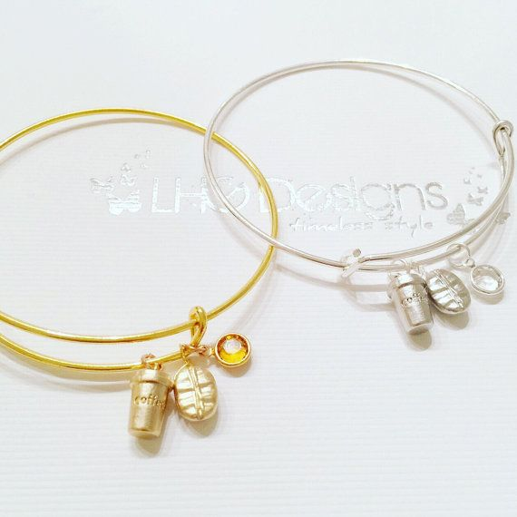 Inspirational coffee silver bracelet charm bracelet by LHGDesigns