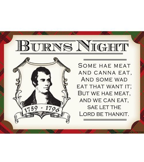 Burns Night Poetry themed poster great for Burns Night themed events. Features the Scot's version of Grace, traditional said before the Burn's Supper. Made in house so you will not find this design anywhere else! Poster is A3 size and printed onto quality, thick card.