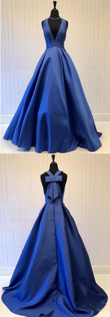 Simple Prom Dress,Blue Prom Dress,V-Neck Satin Prom Dress,Sleeveless Evening Dress with Bow