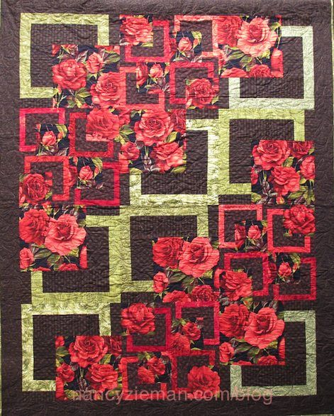 """MIX AND MATCH 9"""" AND 18"""" BLOCKS. Fascinating! Full size big quilt blocks are combined with half size blocks. Pattern is """"Big Quilt"""" by Debbie Bowles. Illustrated on Sewing With Nancy Zieman."""