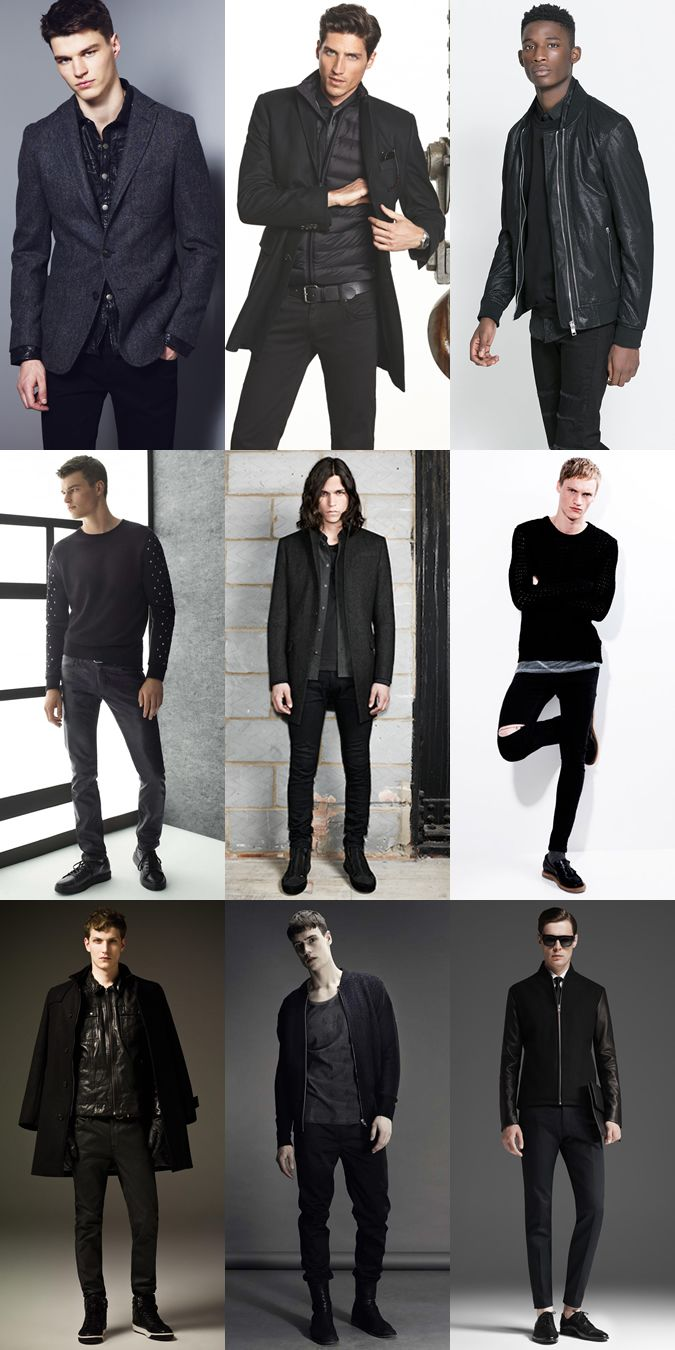 Men's All-Black Outfits & Dark, Edgy Clothing Lookbook #MensFashionEdgy