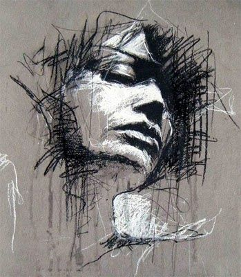 WHO: Guy Denning WHAT: Conte and Chalk WHY: I love the messy and expressive approach and the colour choices.