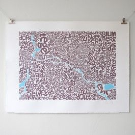 Limited edition typographic map of Berlin showing Bezirke (boroughs) of Ost- and West Berlin.