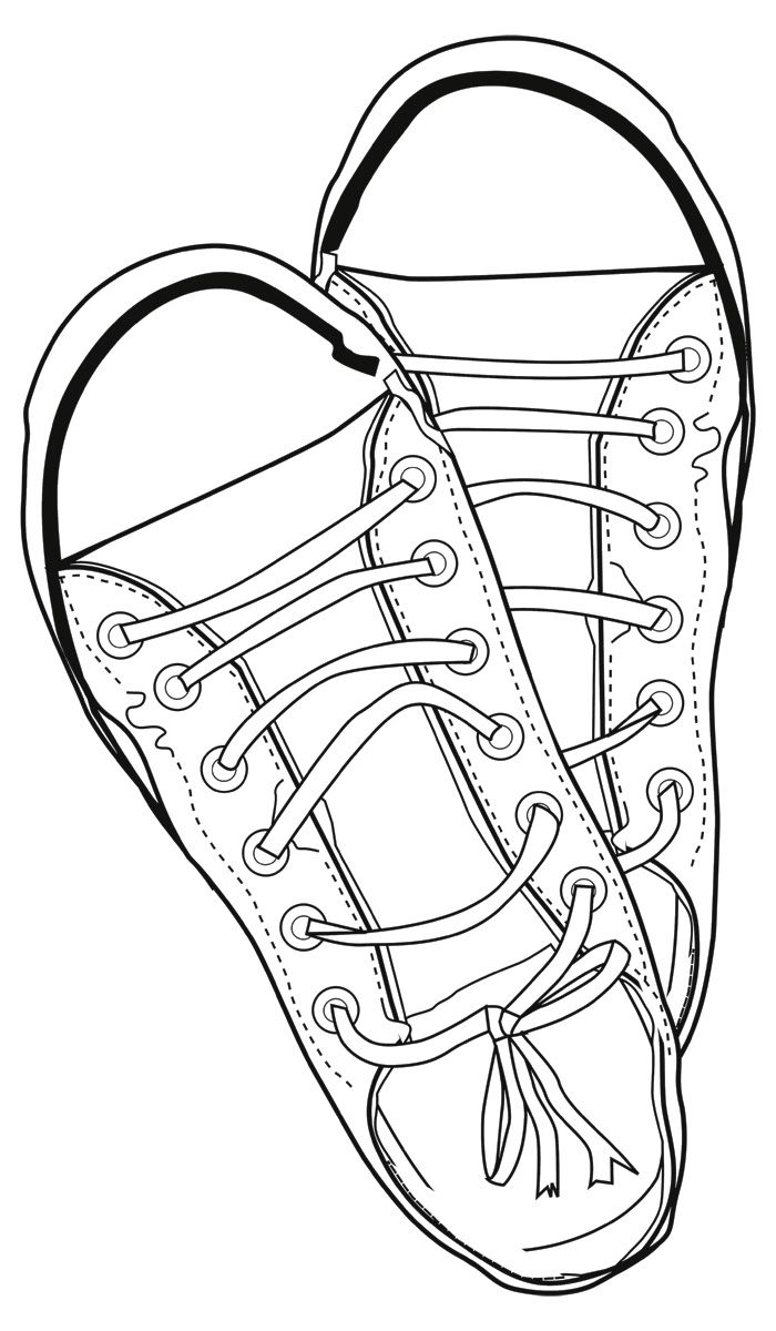 Tennis shoes coloring pages - Sneakers Line Drawing