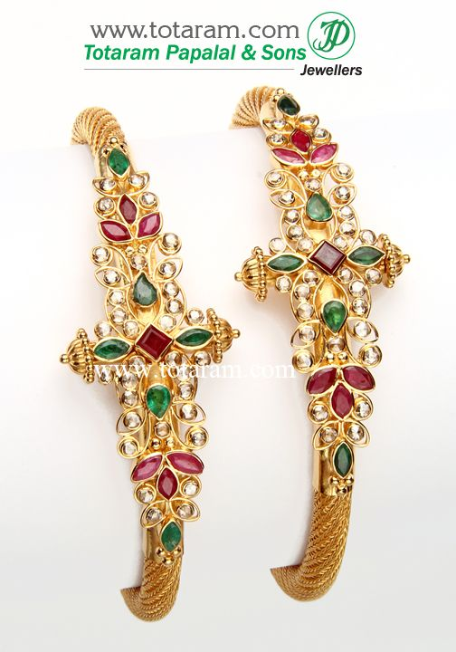 22K Fine Gold Uncut Diamond Kada with Rubies & Emeralds