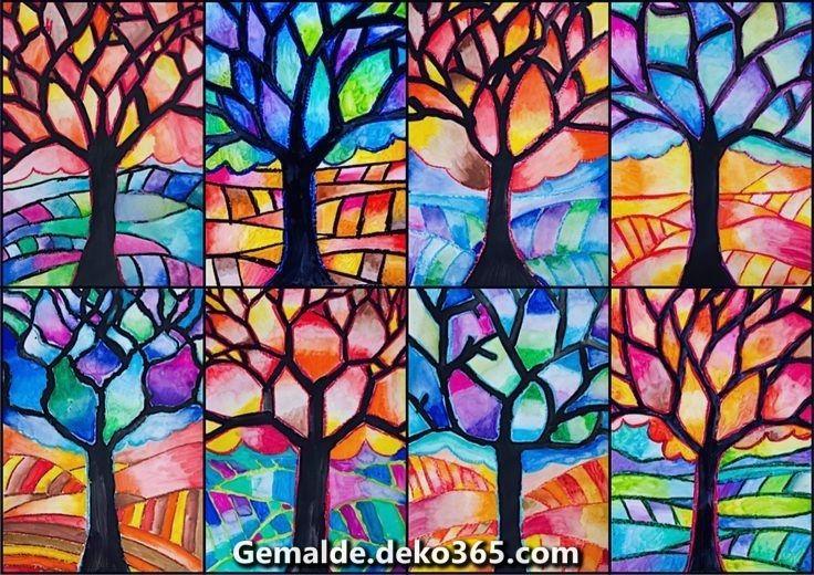 Baum Mit Warmen Und Kalten Farben Fall Art Projects Colorful