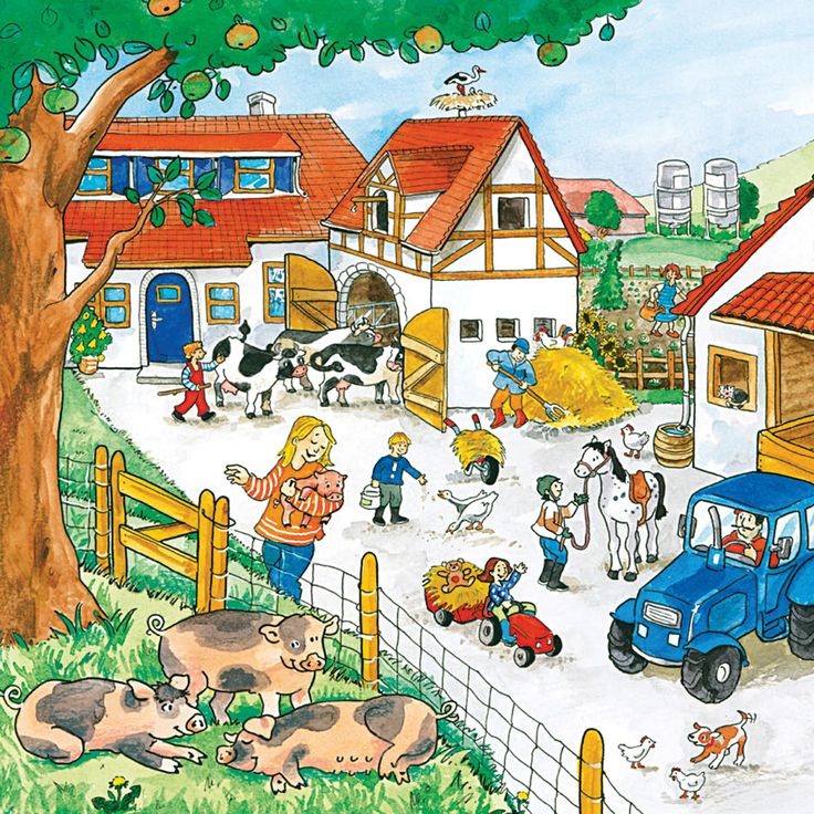 Name all the farm animals in this picture.