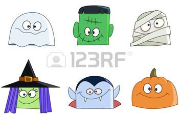 halloween cartoon: Halloween characters faces set. Ghost, green monster, mummy, witch, vampire and pumpkin
