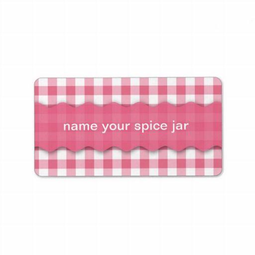 Pink Checkered Design Kitchen Label