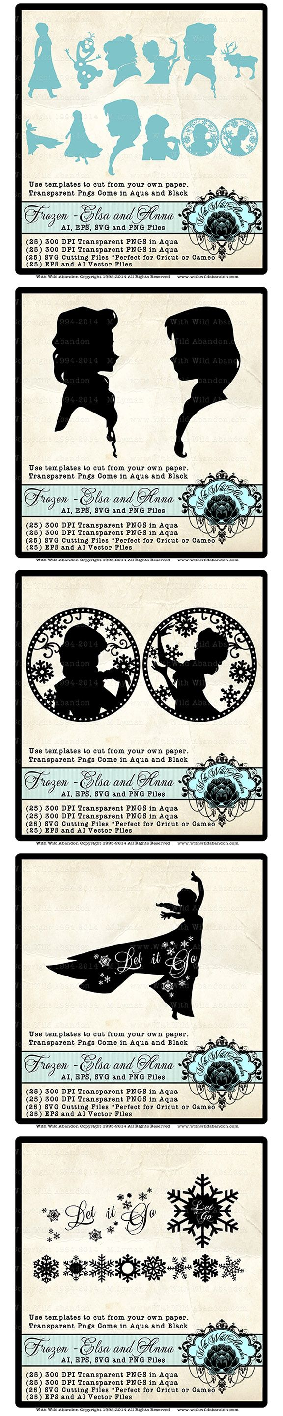 Frozen SVG, Frozen Silhouettes, Anna SVG, Elsa SVG, Anna Silhouette, Elsa Silhouette, Vector, Princess SVG, png, ai, eps Total 25 Frozen images.are solid black in color, 300 DPI pngs. Total 25 Frozen images.are solid Aqua in color, 300 DPI pngs. Elsa, Anna, Olaf, Kristof, Sven. Suitable for printing as many times as you like. (25) AI and EPS Illustrator vector files. These can be resized to any size. (25) SVG Cutting files for use with Cricket Explore or Cameo Silhouette