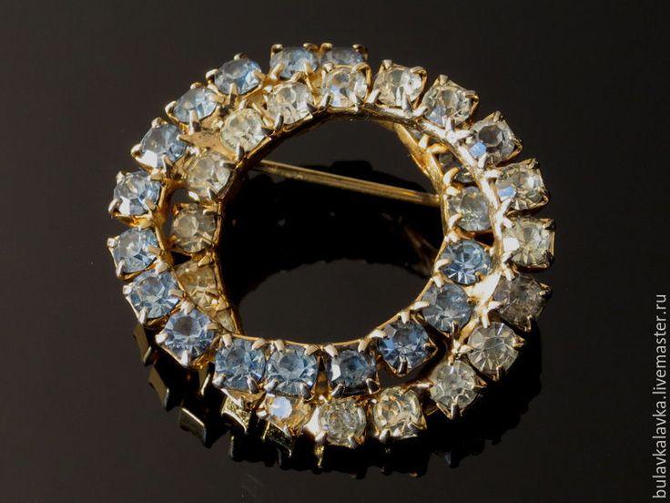 Купить Винтажная брошь с кристаллами - комбинированный, винтажные украшения, винтажные броши, винтажная бижутерия