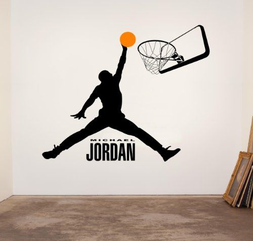 Michael Jordan Basketball Logo Silhouette Dunk Vinyl Wall