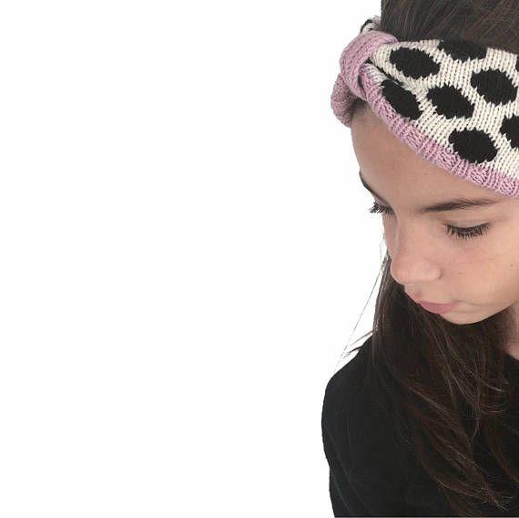 Merino wool Ear Warmer, Girls Earwarmer, Knit Headwrap, Dots Pattern Hairband.