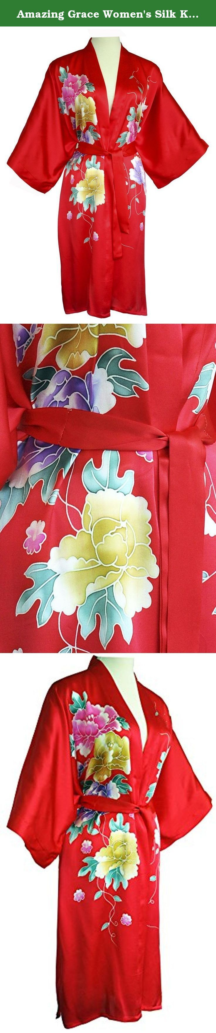 """Amazing Grace Women's Silk Kimono, Short Robe - Hand Painted Floral (Red Floral). Kimono size: One size fits almost everyone. Defy gravity with hand painted, Chinese silk kimono robe that makes you feel you're floating. Generous proportions measuring 43"""" x 43"""" tailored to fit almost everyone allow a one-size garment with freedom of movement and sense of freefall unlike any other. Note: Kindly understand that the actual item's color may slightly differs from the images due to the…"""
