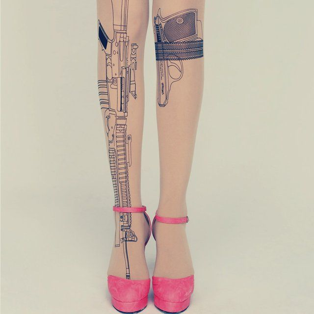 Fancy - Nude Gun Print Tights