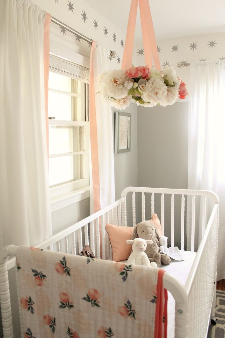 12th and White: Peach and Gray Nursery // I'm SO going to make that flower mobile! Gorgeous.