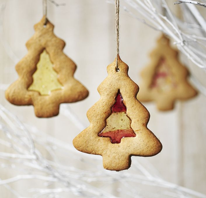 These Christmas biscuits are perfect for hanging on the tree – the lights will twinkle through the 'windows', which are simply melted boiled sweets