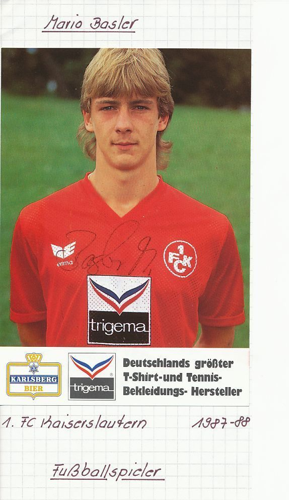 Mario Basler    FC Kaiserslautern  80er  Autogrammkarte -125845 -EC