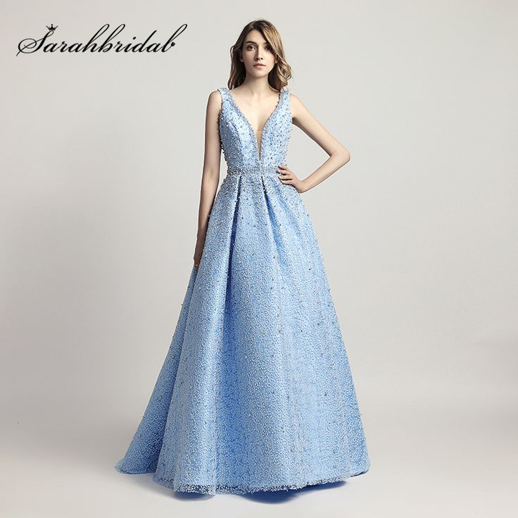 Cheap red carpet dresses, Buy Quality carpet dress directly from China celebrity dresses Suppliers: Heavy Pearls Beaded Luxury Ball Gown Celebrity Dresses Sexy V-Neck Red Carpet Dress Sky Blue Formal Evening Party Gowns LX442