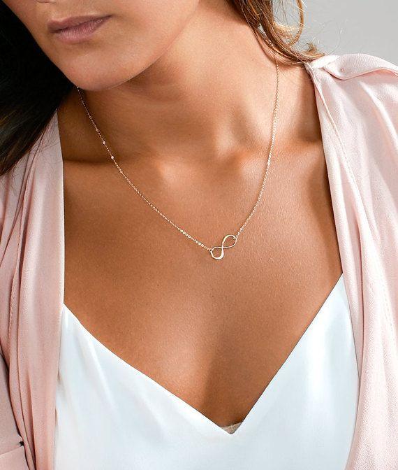 Zarte Halskette mit Infinity Ring, zierliche Infinity Halskette aus Sterling Silber, 14 k Gold füllen, Rose Gold füllen, einfache Layering-Halskette