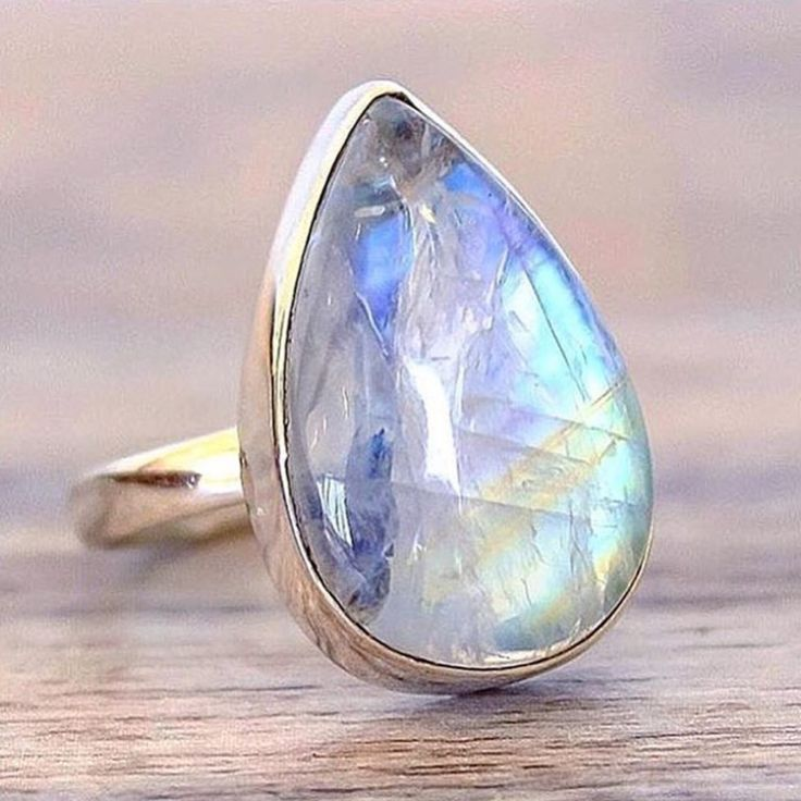 Moonstone Rain Drop Ring || Available in our 'Gems and Stones' Collection || www.indieandharper.com