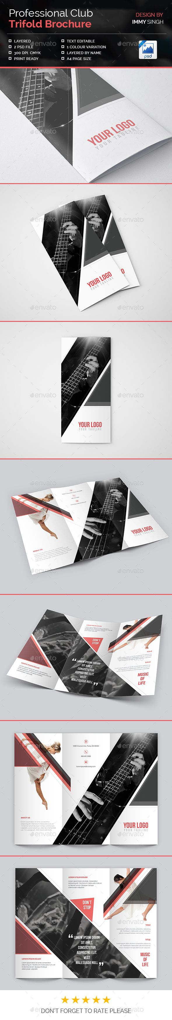 Professional Club Trifold Brochure Template PSD #design Download: http://graphicriver.net/item/professional-club-trifold-brochure/13932805?ref=ksioks