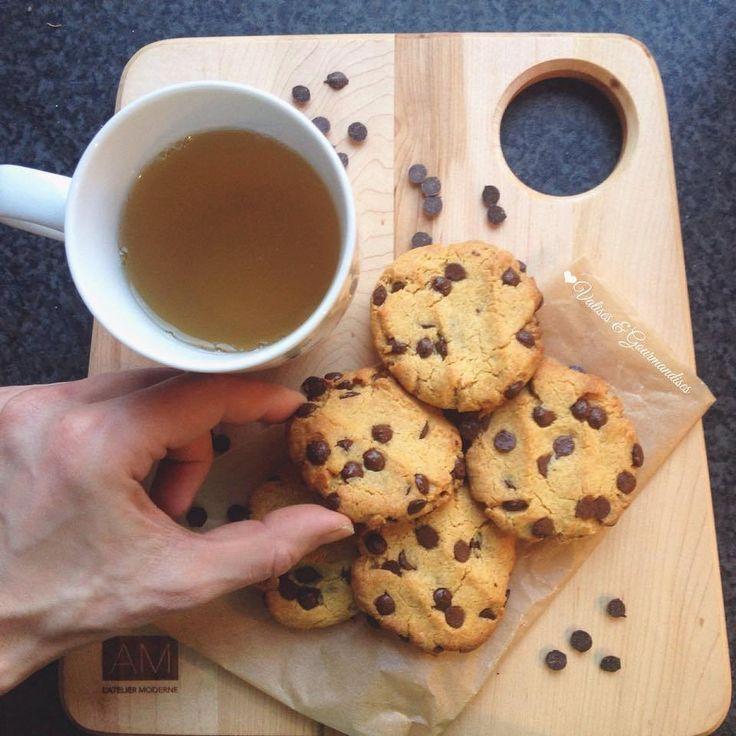 Biscuits aux brisures de chocolats végétaliens à la farine de pois chiches