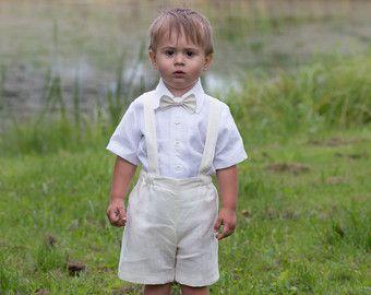 Bambino ragazzo battesimo abiti ragazzo vestito avorio anello portatore vestito ragazzo 1 ° compleanno pantaloncini bretelle ragazzo matrimonio formale indossa biancheria vestito di battesimo