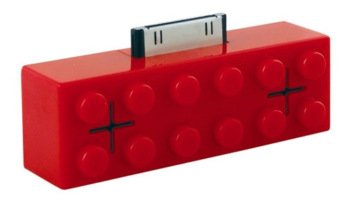 Mini iStereo Dock - Red: Instant external speaker/amplifier powered by your MP3 player, no additional batteries required. Following the lego trend...